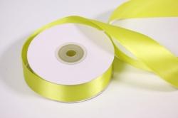 Лента атласная, в катушке (картон) гладкая, односторонняя, 25мм х 25м (лимонная 1069)