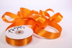 Лента атласная, в катушке (картон) гладкая, односторонняя, 25мм х 25м (оранжевая 1099)