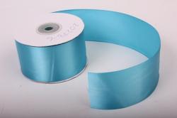 Лента атласная, в катушке (картон) гладкая, односторонняя, 50мм х 25м (голубой 1056) К
