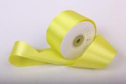 Лента атласная, в катушке (картон) гладкая, односторонняя, 50мм х 25м (лимонный 1069) К