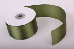 Лента атласная, в катушке (картон) гладкая, односторонняя, 50мм х 25м (оливковый 1086) К