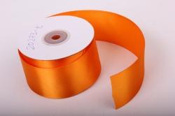 Лента атласная, в катушке (картон) гладкая, односторонняя, 50мм х 25м (оранжевый 1099) К
