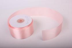 Лента атласная, в катушке (картон) гладкая, односторонняя, 50мм х 25м (светло-розовый 1011) К