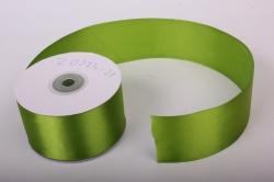Лента атласная, в катушке (картон) гладкая, односторонняя, 50мм х 25м (травяной 1074) К