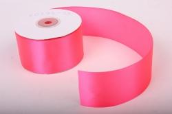 Лента атласная, в катушке (картон) гладкая, односторонняя, 50мм х 25м (ярко-розовый 1038) К