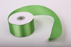 Лента атласная, в катушке (картон) гладкая, односторонняя, 50мм х 25м (зеленый 1072) К