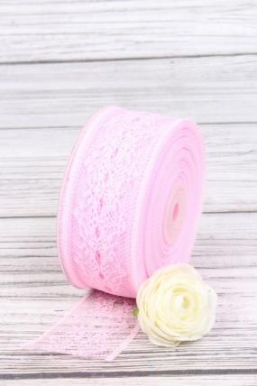 """Лента декоративная """"Кружево"""", 4 см х 25 ярд., розовый 7192М"""