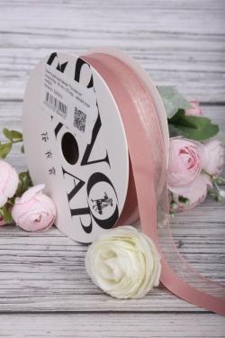 """Лента декоративная """"Половинки"""", полиэстер, 26 мм х 20 ярд., чайная роза 4400М"""
