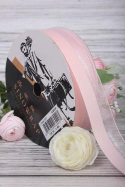 """Лента декоративная """"Половинки"""", полиэстер, 26 мм х 20 ярд., светло-розовый 4424М"""