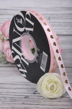 "Лента декоративная ""Золотые сердца"", полиэстер, 10 мм х 45 ярд., светло-розовый 1755М"