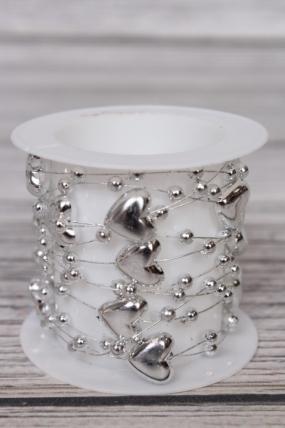 Лента из бусинок декоративная 1смх1,5метра  сердечки серебро 8KR5439