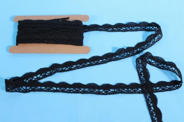 Лента кружево декоративная - 2,0cм*4,6м - черное 147KRB П