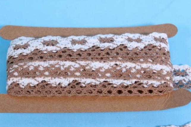 Лента кружево декоративная - 2,5cм*4,6м - бело-коричневое 240KRB П