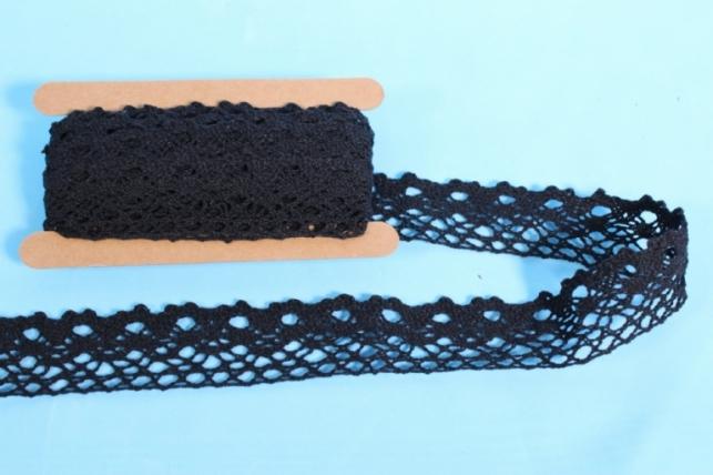 Лента кружево декоративная - 3,5cм*4,6м - черная 146KRB П
