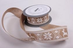 Лента лен НГ с оленями белый на коричневом  4см*6ярд  272002 П