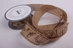 Лента лен НГ Снеговик с подарками коричневый на коричневом  4см*6ярд  272008 П