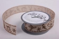 Лента лен НГ Снеговик с подарками коричневый на натуральном  4см*6ярд  272008 П