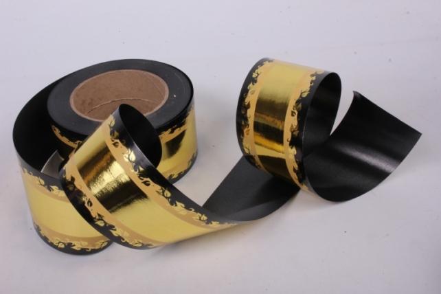 Лента металл с рисунком 6см*50ярд МР601 золото