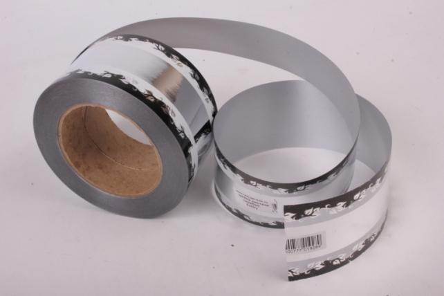 Лента металл с рисунком 6см*50ярд МР602 серебро