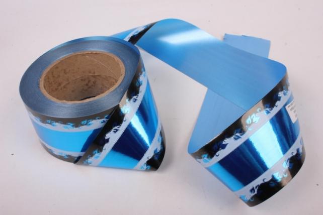 Лента металл с рисунком 6см*50ярд МР604 синий