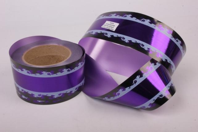 Лента металл с рисунком 6см*50ярд МР605 фиолетовый