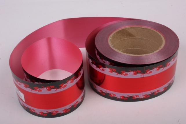 Лента металл с рисунком 6см*50ярд МР607 красный