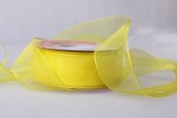 Лента органза (2,5см на 25ярдов) Н - Жёлтый