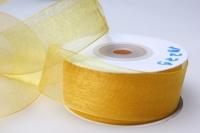 Лента органза 25мм х 20ярд желтая П 016