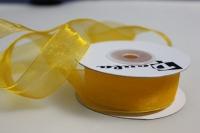 Лента органза 25мм х 20ярд темно-желтая П 047