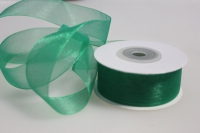Лента органза 25мм х 20ярд зеленая П 076