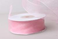 Лента органза  25мм х 25ярд Светло-розовая