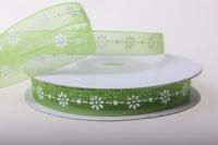 Лента органза Цветы (0,9см на 18м) - Зелёный