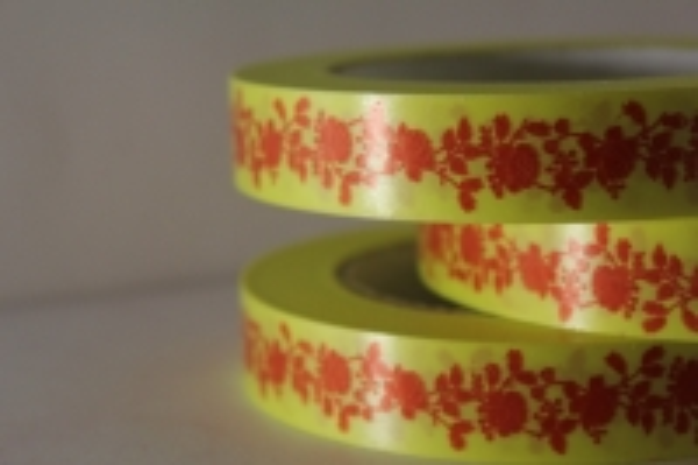 "2,0 см х 50м ""пионы"" лента простая 2х50м ""пионы"" красные на жёлтом р2050 P2050"