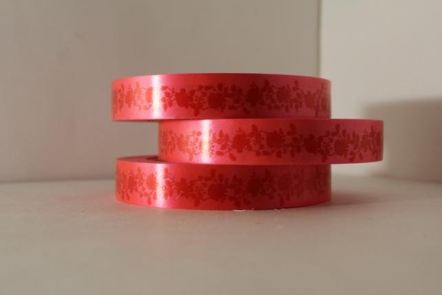 """2,0 см х 50м """"пионы"""" лента простая 2х50м """"пионы"""" красные на красном р2029 P2029"""