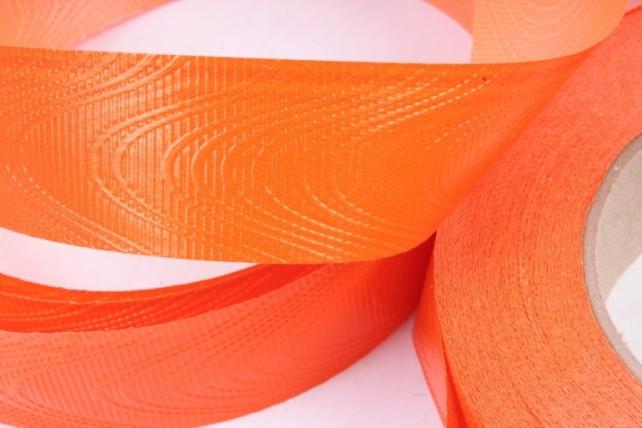 Лента простая 3х50м Тиснение дерево Оранжевая Р315