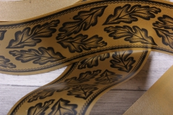 лента простая (5см*50м)  дубовый лист p554 бронзовая