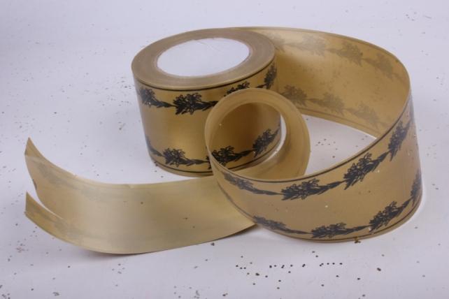лента простая (8см*50м) с лилиями по краям p834 бронзовый