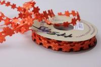 Лента Ромашки оранжевые  шелк 1см х 10ярд