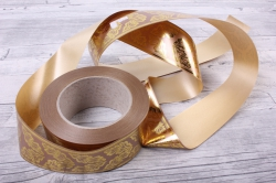 лента с з/п ( 5см*50ярд) атласная дубовый лист a582 бронзовый