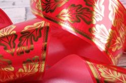 лента с з/п ( 5см*50ярд) атласная дубовый лист a583 красный