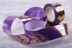 лента с з/п ( 5см*50ярд) атласная дубовый лист a584 фиолетовый