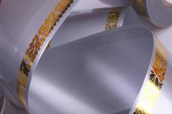лента с з/п ( 6см*50ярд) атласная с дубками по краям a622 серый