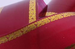 лента с з/п ( 6см*50ярд) атласная с дубками по краям a634 бордо