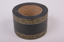 лента с з/п ( 8см*50ярд) лаковая l816 с орнаментом чёрный