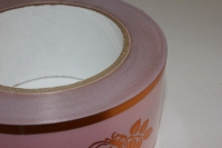 траурная ритуальная лента 5,0 см 50 ярдов с золотой полосой лента с зол. пол. 5х50у розовая а509 A509