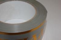 траурная ритуальная лента 5,0 см 50 ярдов с золотой полосой лента с зол. пол. 5х50у серая а526 A526
