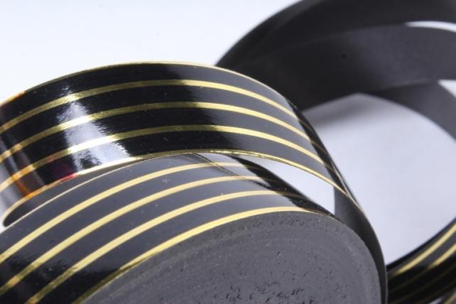 Лента с золотой полосой (2см*50ярд) Многополоска A2005 ЧЕРНЫЙ