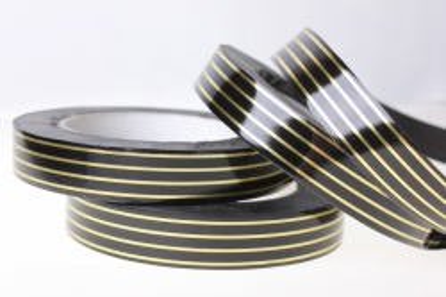 2,0 см х 50у многополосн. лента с золотой полосой (2см*50ярд) многополоска a2005 черный A2005