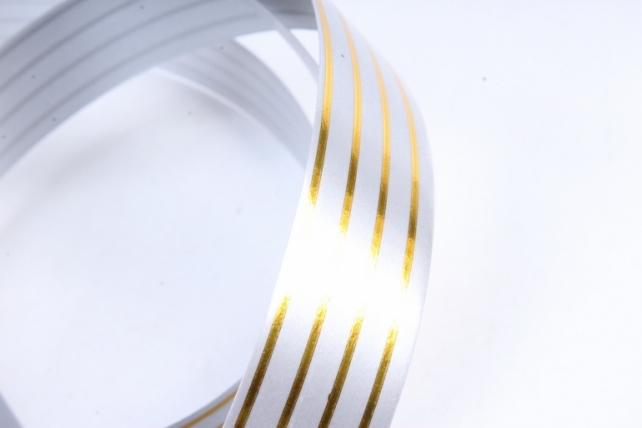 Лента с золотой полосой (2см*50ярд) Многополоска A297 СЕРАЯ