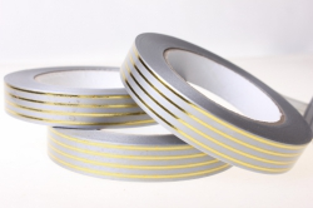 2,0 см х 50у многополосн. лента с золотой полосой (2см*50ярд) многополоска a297 серая A297